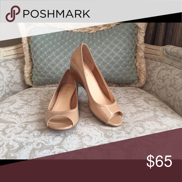 c57b08092 Cole Haan low heeled wedge in nude patent leather Comfortable, peep toe  wedge with Nike Air cushioning. Low 1 3/8