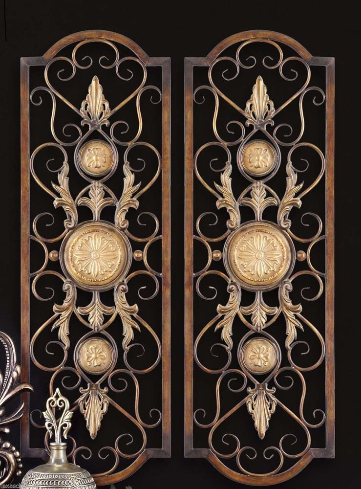 Set 2 Scroll Wall Decor Wrought Iron Metal Grille Panel Tuscan Art ...