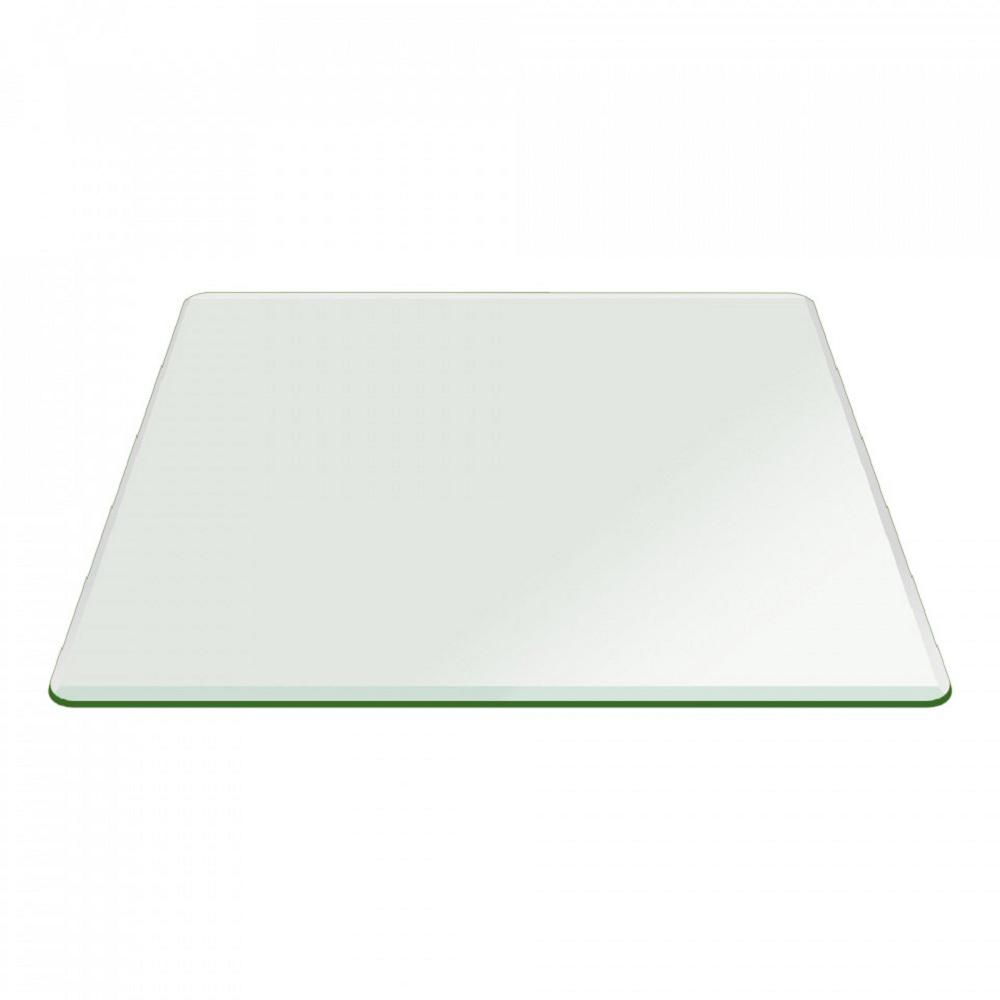 Fab Glass And Mirror 22 In Clear Square Glass Table Top 1 2 In Thick Bevel Polish Tempered Radius Corner Tempered Glass Table Top Glass Top Table Glass Table