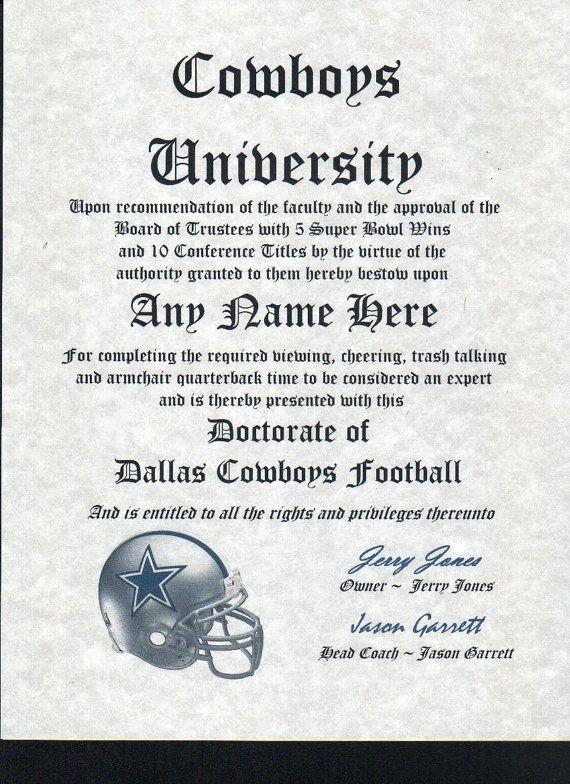 Dallas Cowboys Football Fan Certificate By