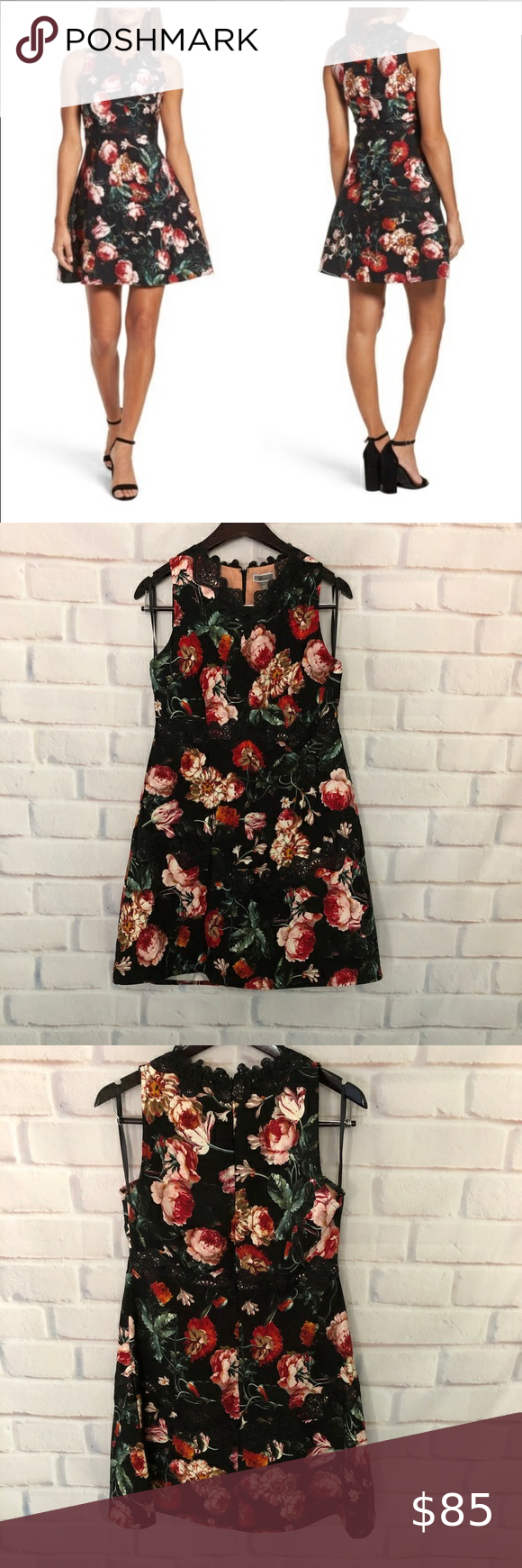 Chelsea28 Foxie Black Floral Dress Nwt Size S Floral Dress Black Dresses Floral Dress [ 1740 x 580 Pixel ]