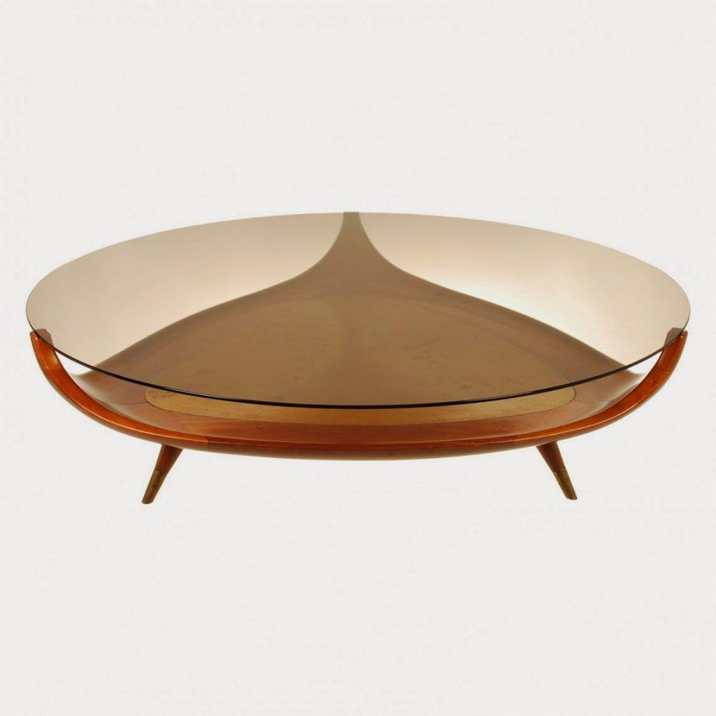 Lovely Small Modern Oval Glass Top Coffee Table With Triangle Wooden Base Home Design Ideas