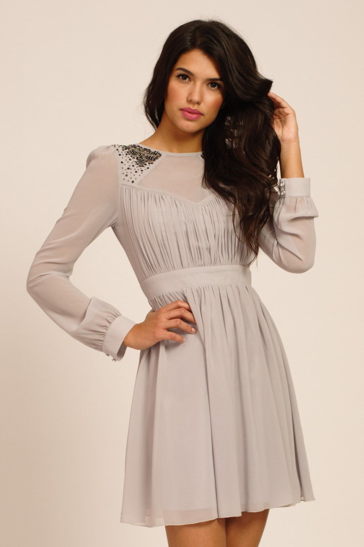 1390474594 36199000 Jpg 1000 1500 Long Sleeve Dress Formal Grey Long Sleeve Dress Fit Flare Dress [ 1500 x 1000 Pixel ]