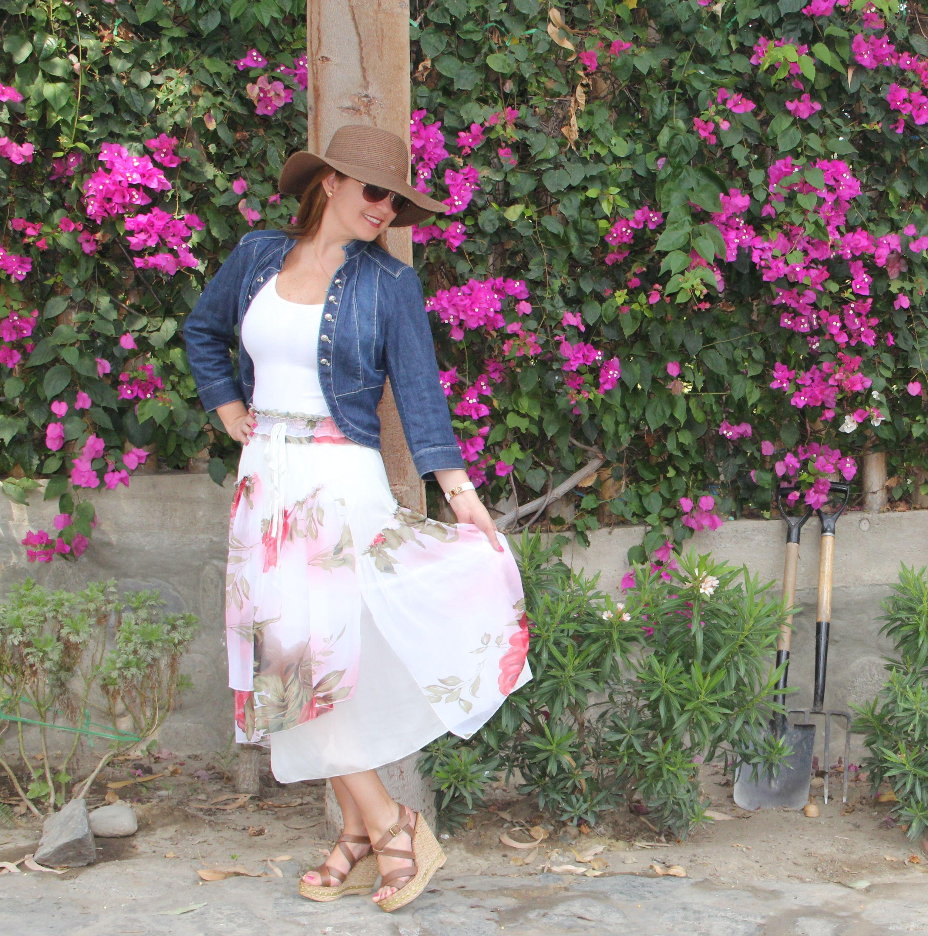 floral skirt, hat
