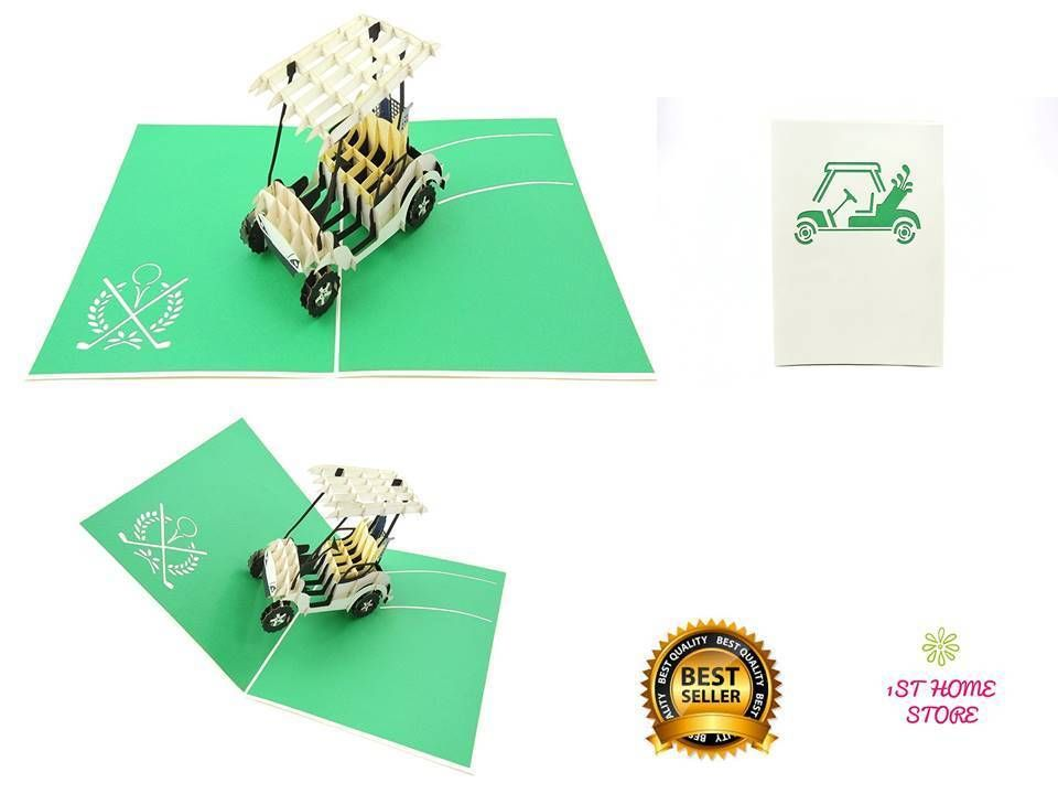 3d pop up golf cart greeting card fathers day husband
