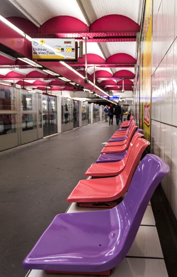 Paris Metro Station—each has its own color theme and personality!