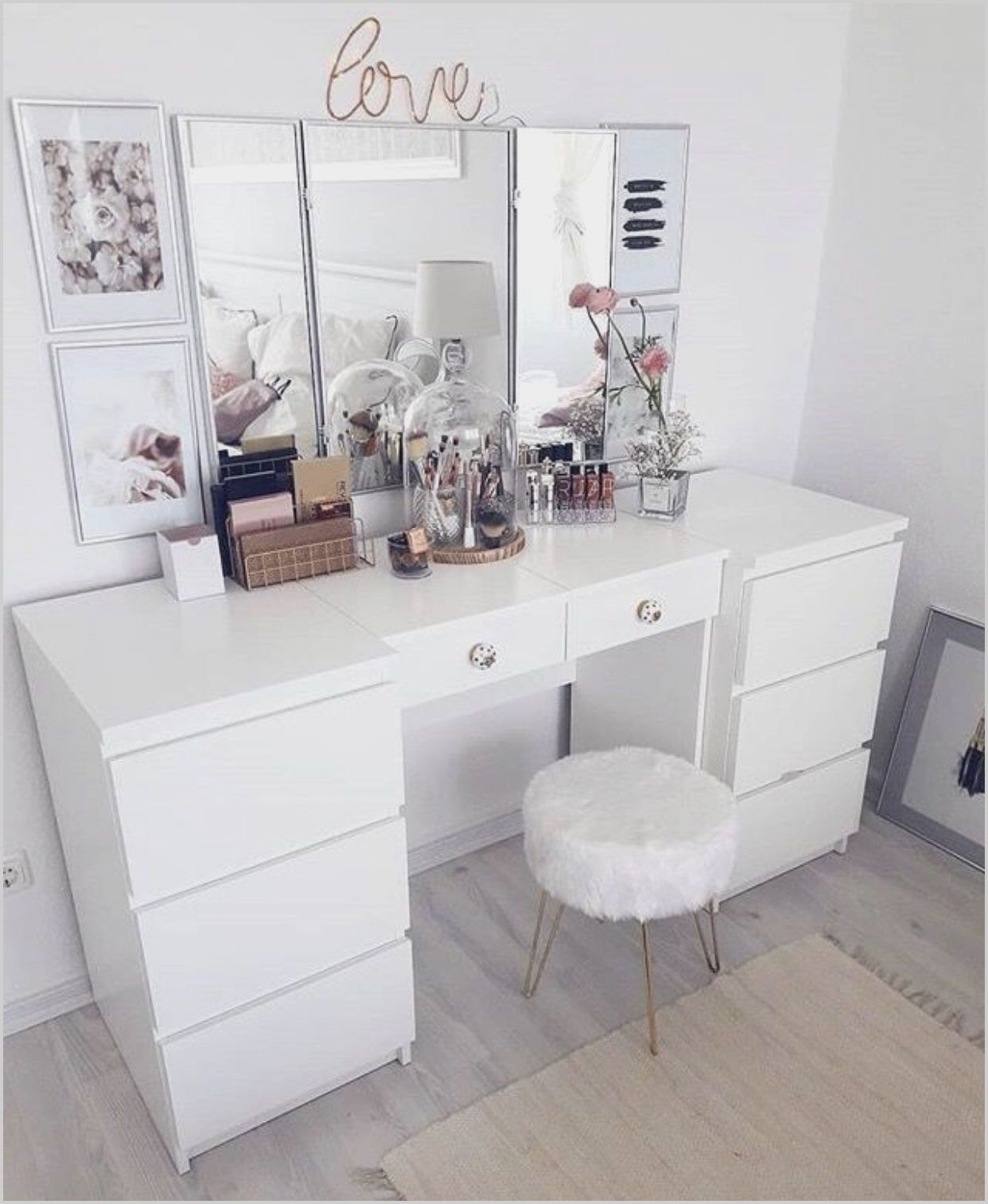 Modern Bedroom White Vanity in 2020 Bedroom makeup