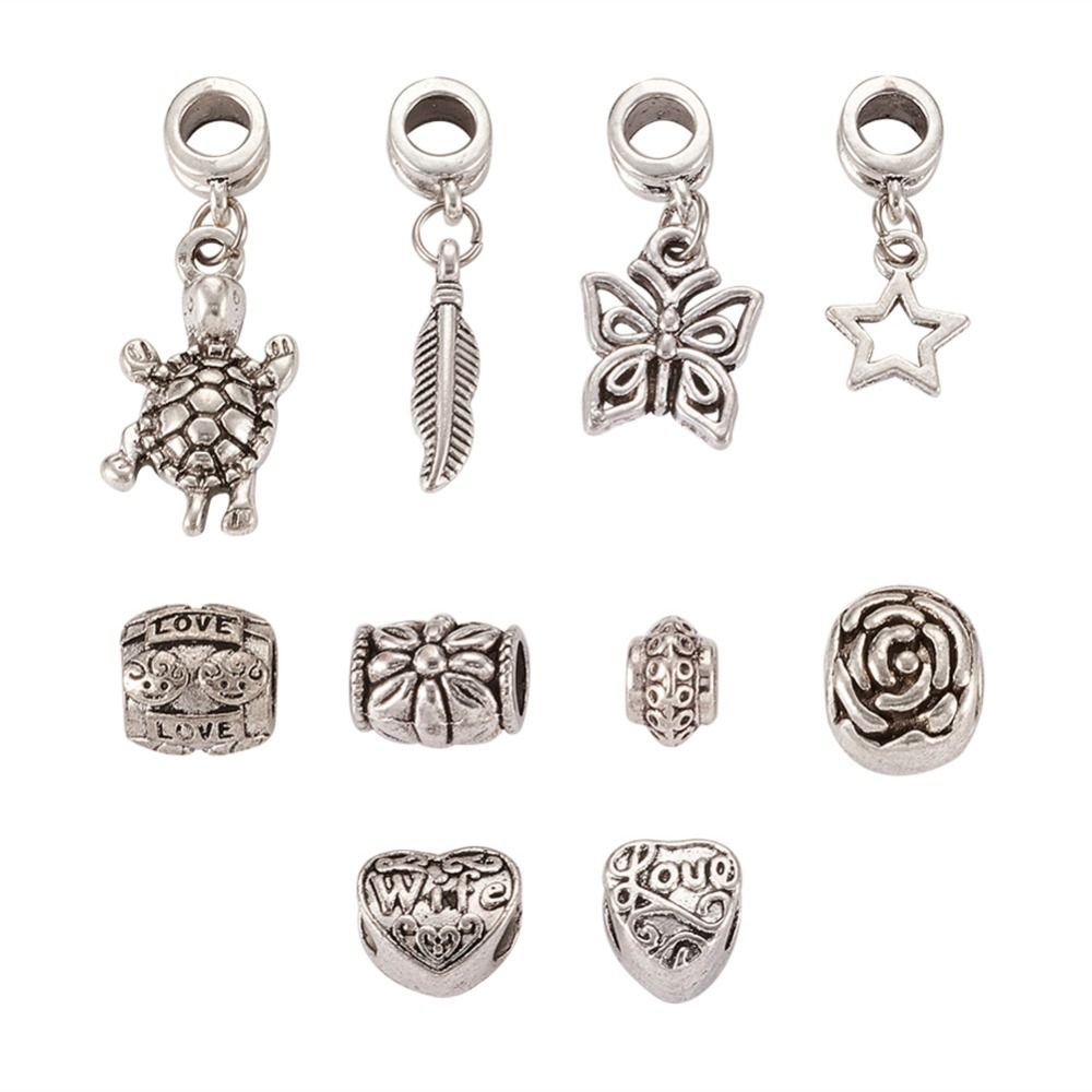10pcs Antique Silver Alloy European Dangle Charms Beads for Jewelry Making  Large Hole Spacer Beads DIY 69fe92b55906