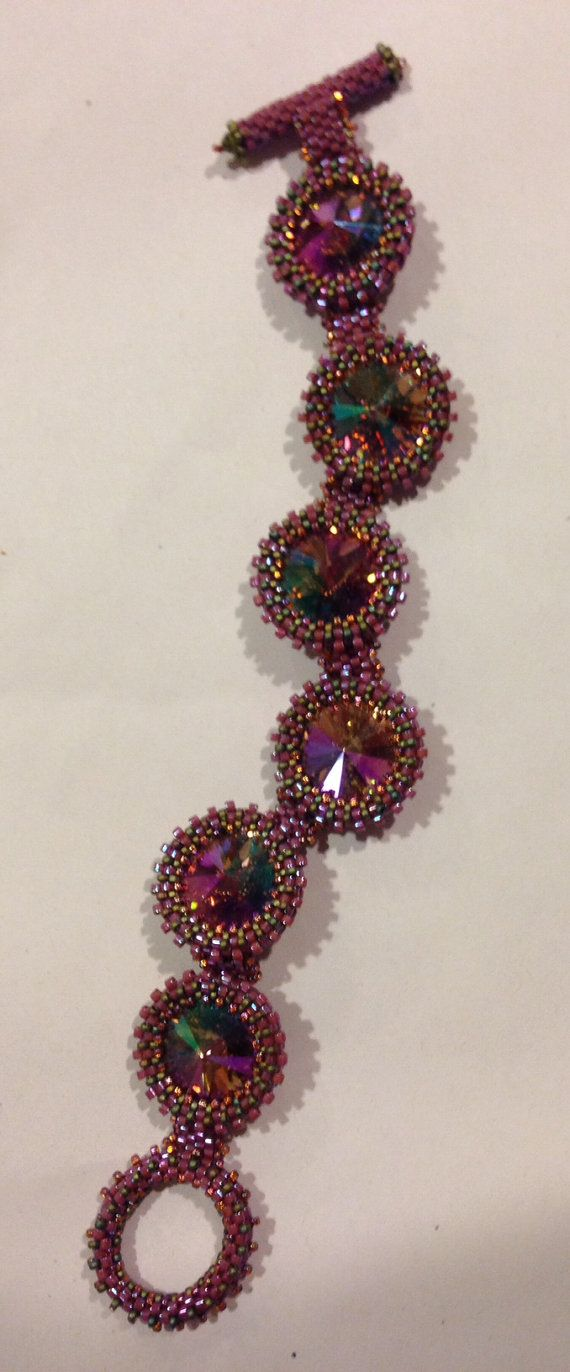 Hand crafted Swarovski Rivolis purple haze size 7.25 by 2KBeads