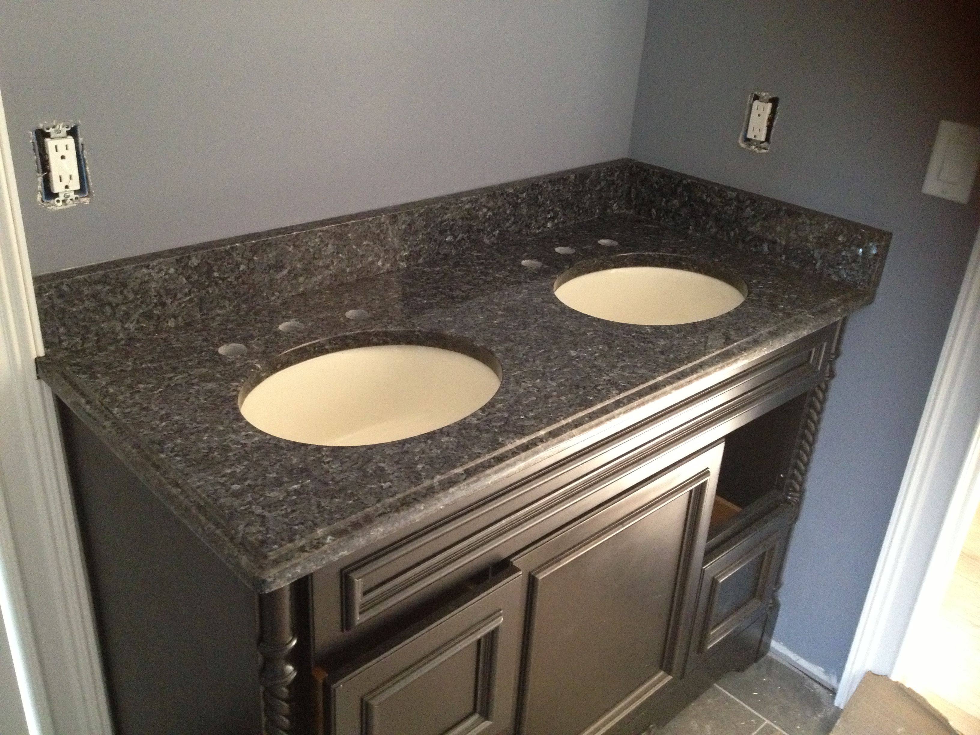 Granite For Bathroom Vanity blue pearl granite vanity top. not sure i like dark cabinets with