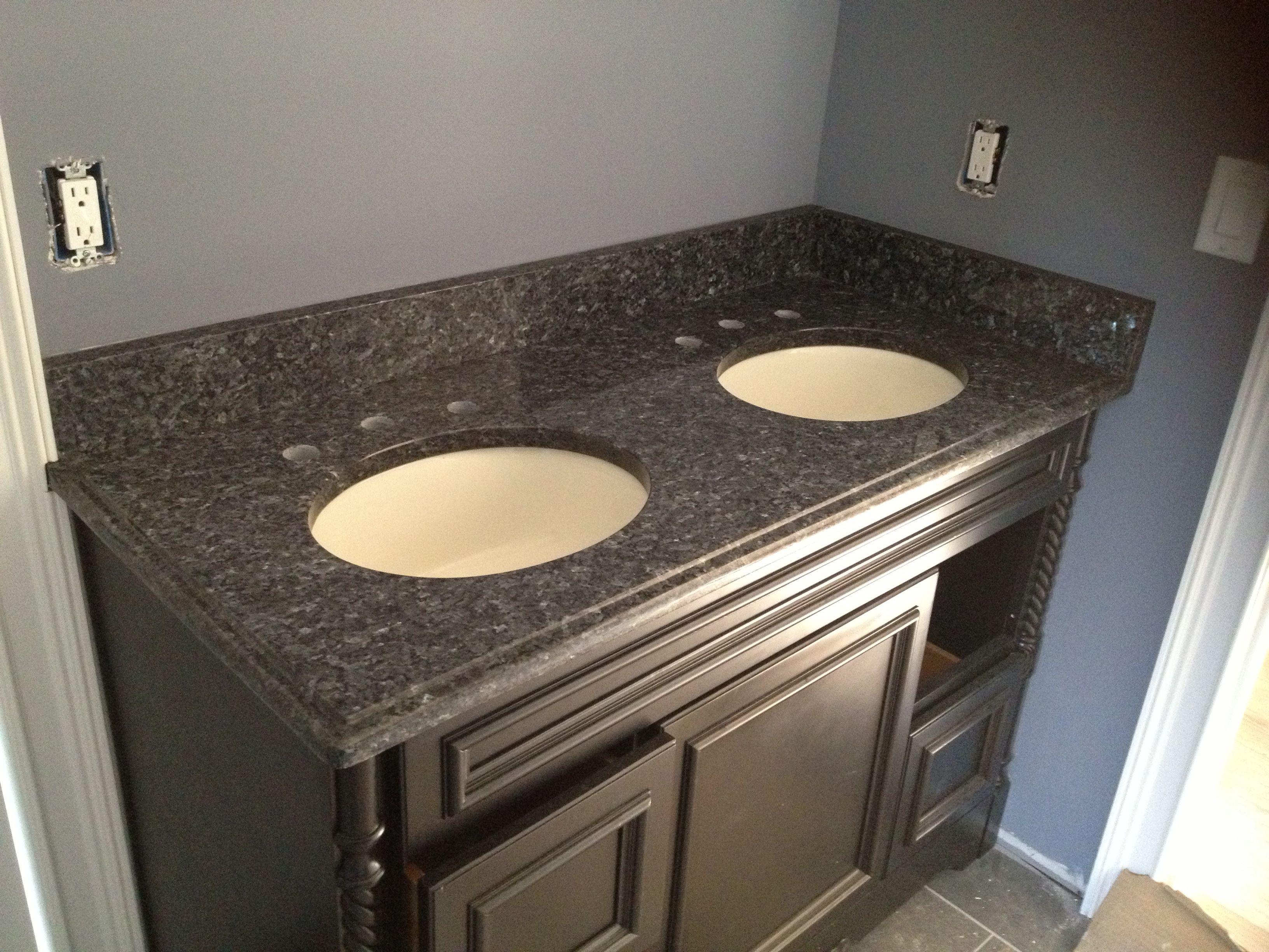Blue pearl granite vanity top. Not sure I like dark ... on Bathroom Ideas With Black Granite Countertops  id=56284