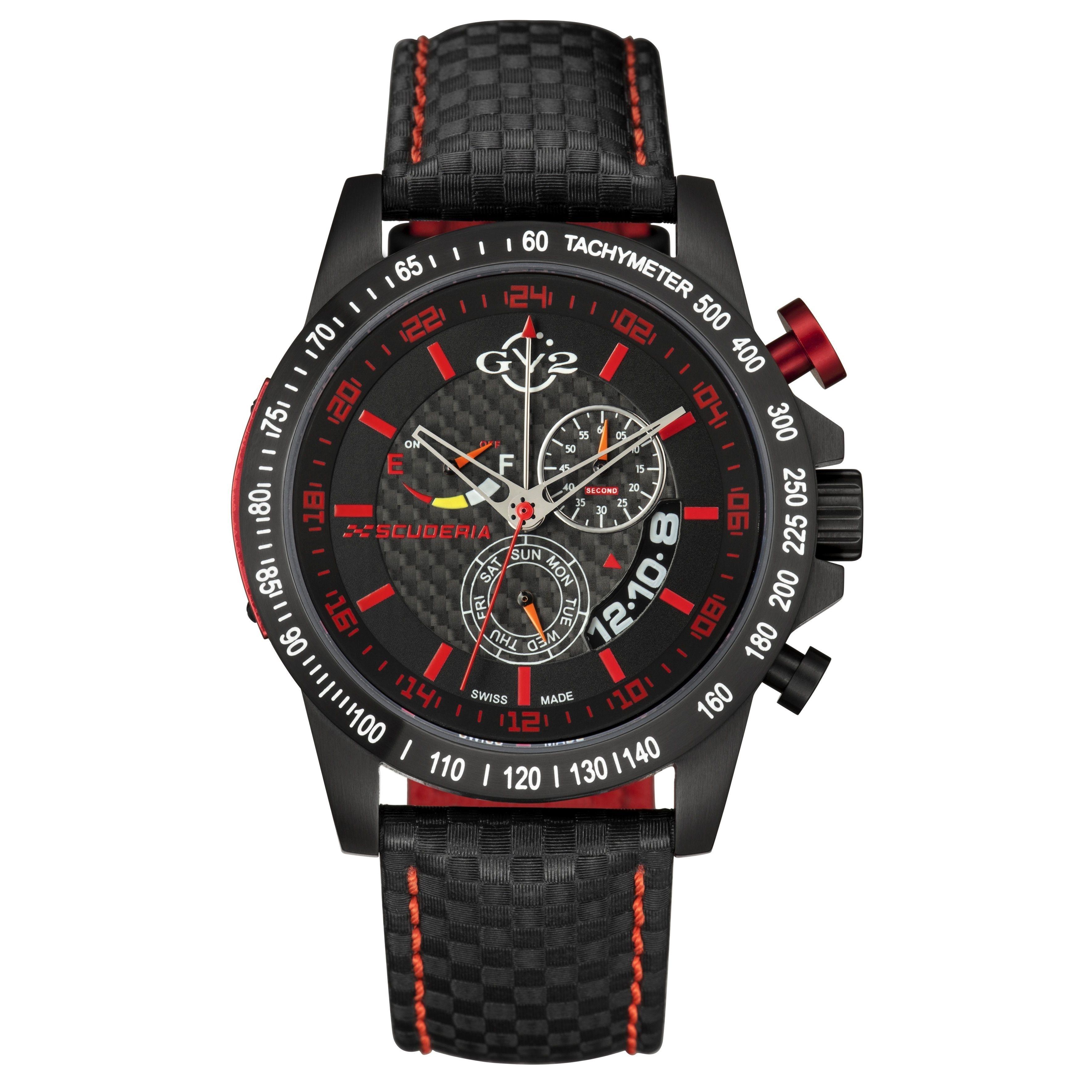 Gevril GV2 Swiss Quartz Chronograph Leather Strap Watch