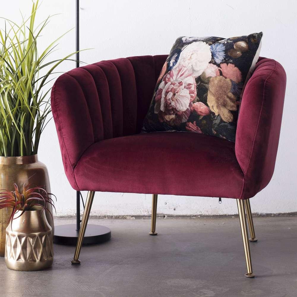 Lounge Sessel Amy Samt Velvet Rot Polstersessel Fernsehsessel