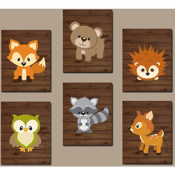 Woodland Nursery Wall Art Wood Forest Animal Bear 48 Liked On Polyvore Featuring Home Children S Room And Decor
