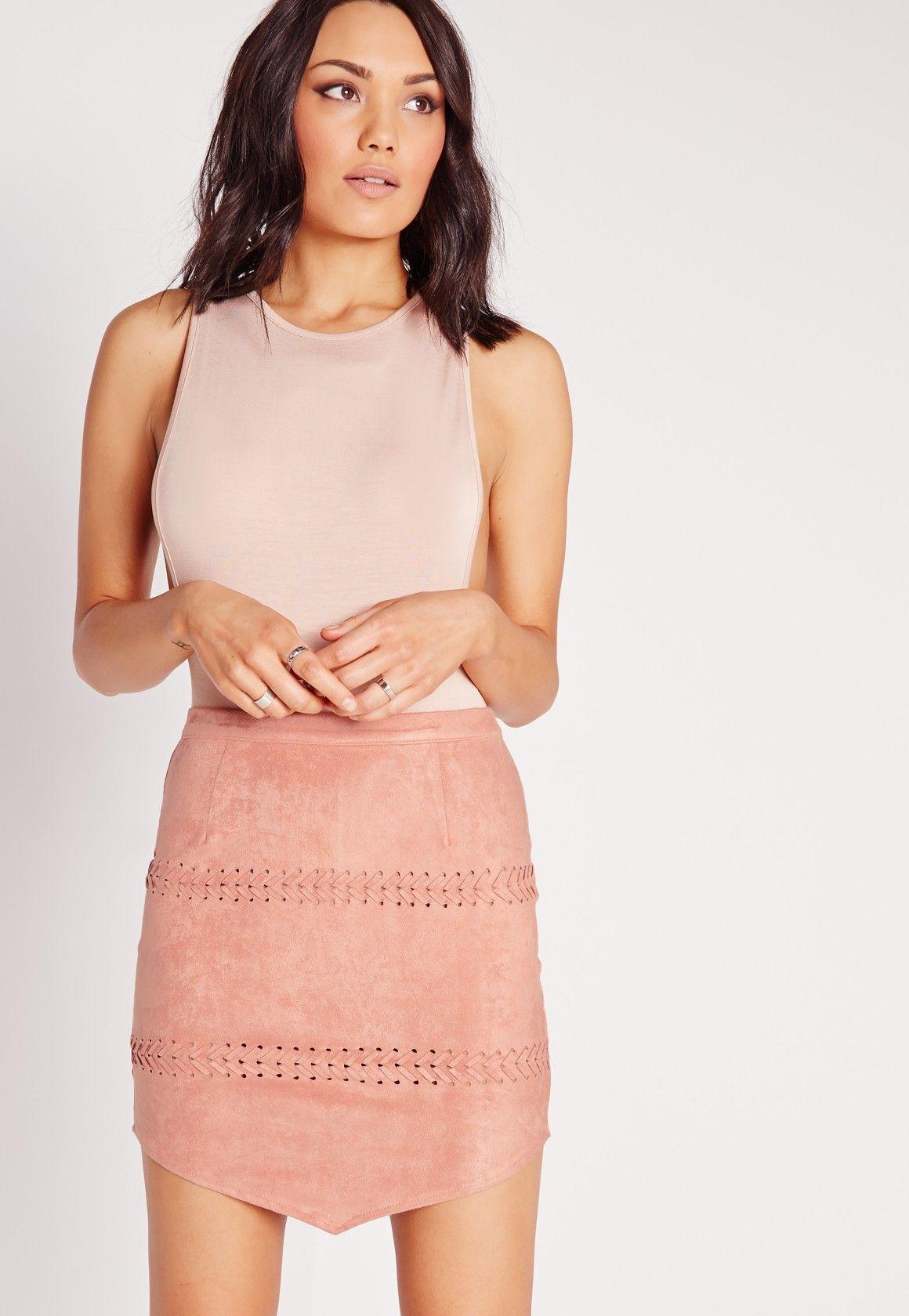 064b71d43409 Missguided - Stitch Detail Faux Suede Mini Skirt Mauve | Let's not ...