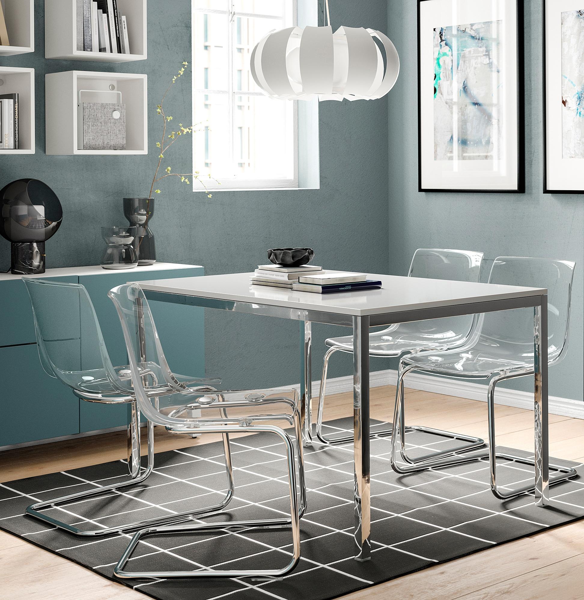 Torsby Tisch Verchromt Hochglanz Weiss Ikea Osterreich White Glass Dining Table High Gloss White Ikea Glass Dining Table