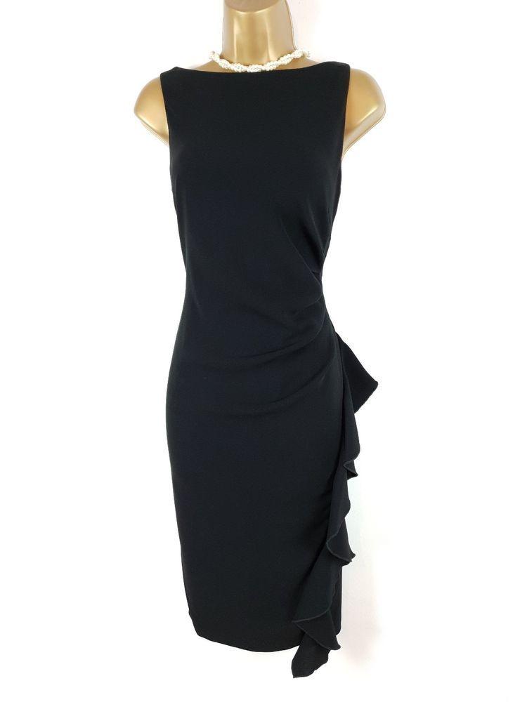 Coast Black Irah Ruffle Dress Uk 14 Fashion Clothing Shoes