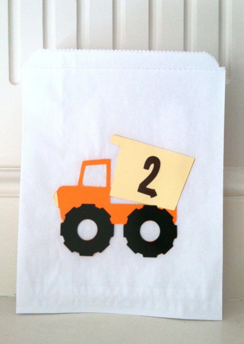 White Glassine Paper Favor Bags- Boy's Dump Truck Construction Birthday Party (12). $15.00, via Etsy.