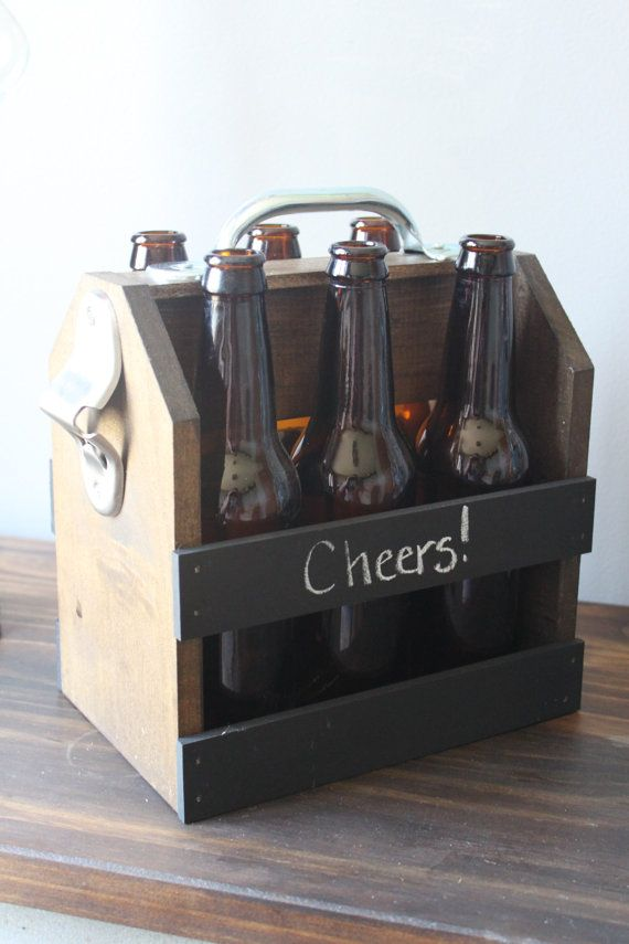 Hand Crafted Beer Carrier with Chalkboard Rails, bachelor ...