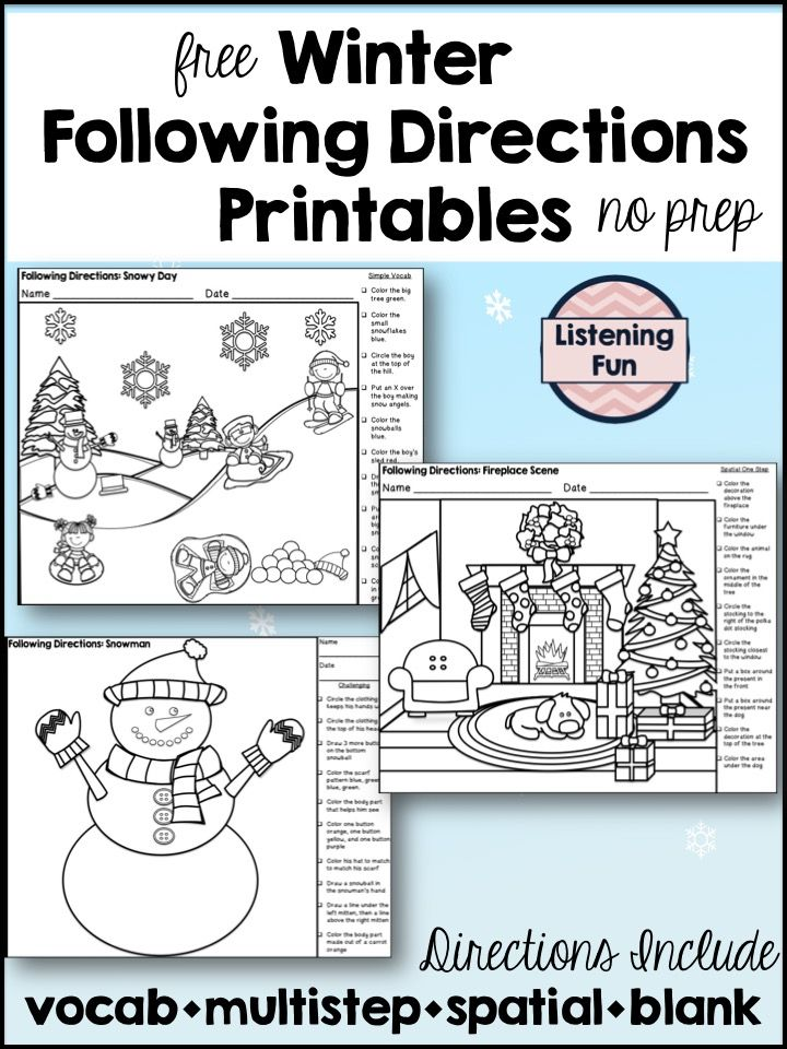 Winter Following Directions Coloring Pages Printable No Prep