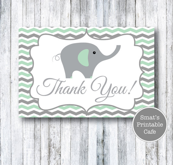 Mint Green & Gray Chevron Elephant Baby Shower Thank You Cards - PRINTABLE…