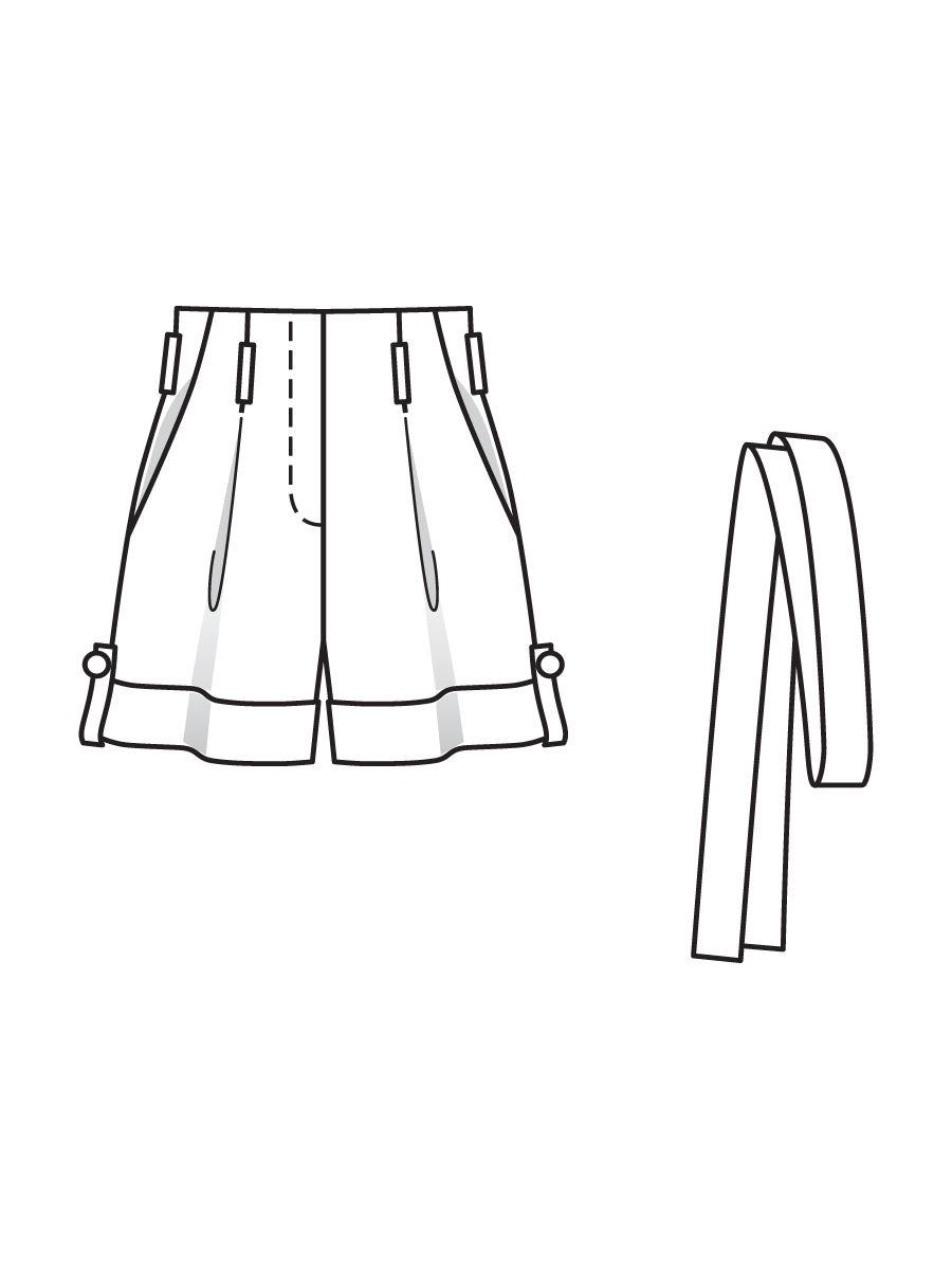 Выкройка шорты на талии высокая талия