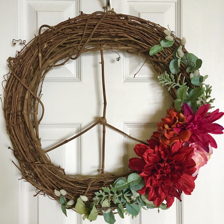 Modern Wreath/Peace Sign Wreath/Fall Wreath/Christmas Wreath/18 ...