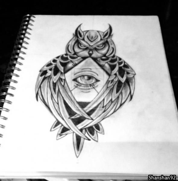 Tattoo Designs For Owl Of Athena Minerva With All Seeing Eye Pyramid