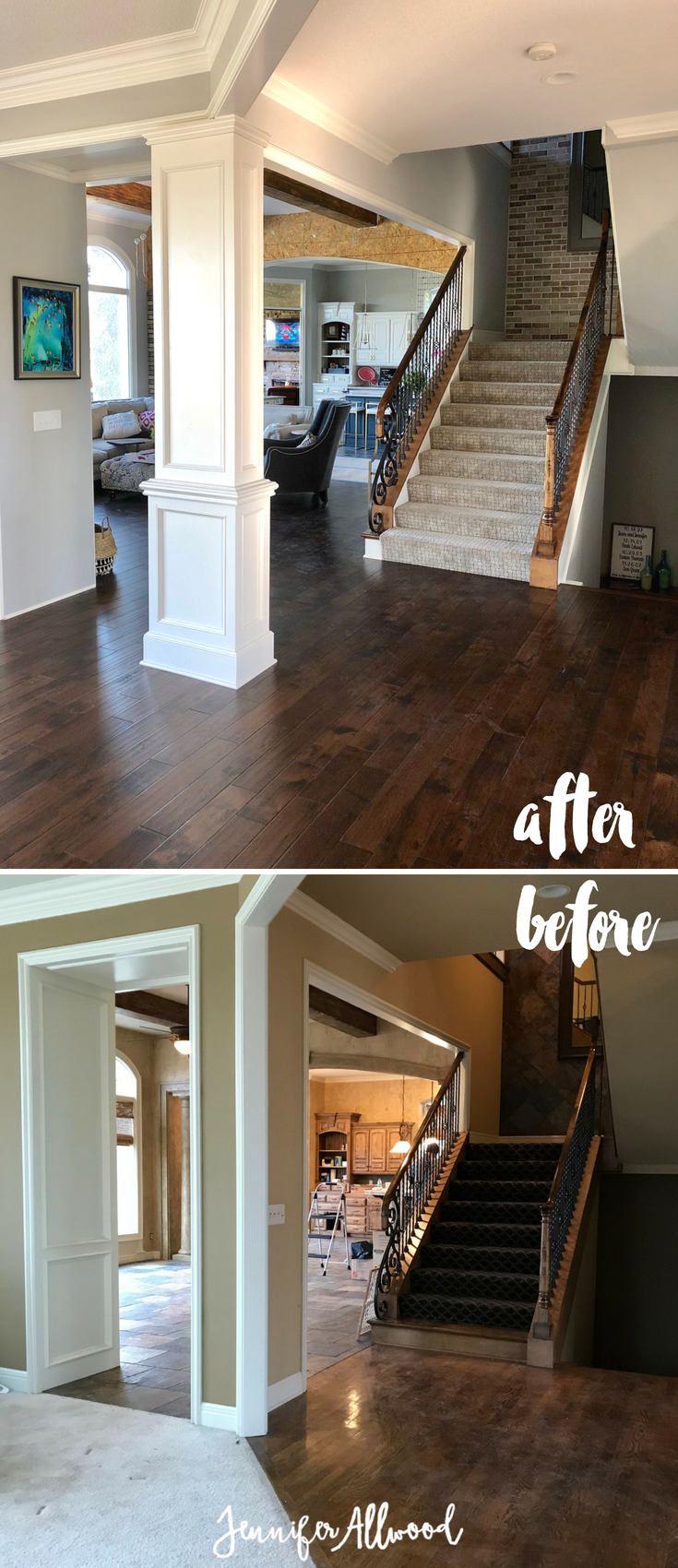 Our flooring makeover with prestained dark hardwood floors