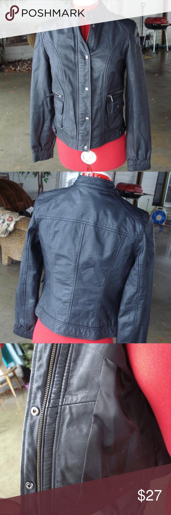 953ca3b263f9 Biker real Leather Jacket XS Black Very Nice ... Genuine Black ...