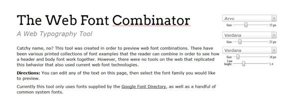 The Web Font Combinator – Preview web font combinations