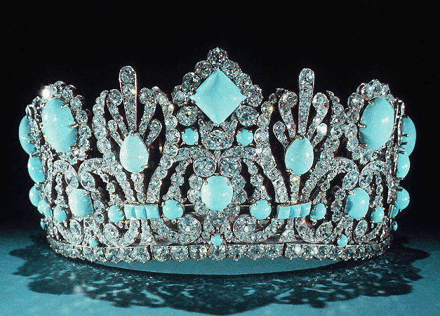 Imperial French tiara that once had emeralds.  They have been replaced by turquoise.