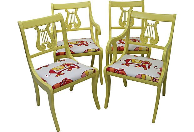 oh, yes! wish I needed some chairs  Lyre-Back Chairs, Set of 4 on OneKingsLane.com