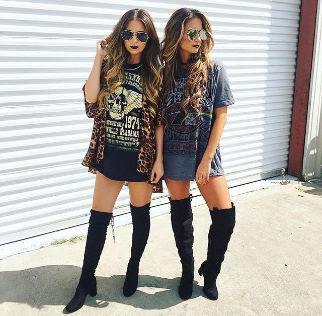 Concert Tee Dresses With Thigh Highs Band Tee Dresses Edgy Outfits Concert Outfit Summer