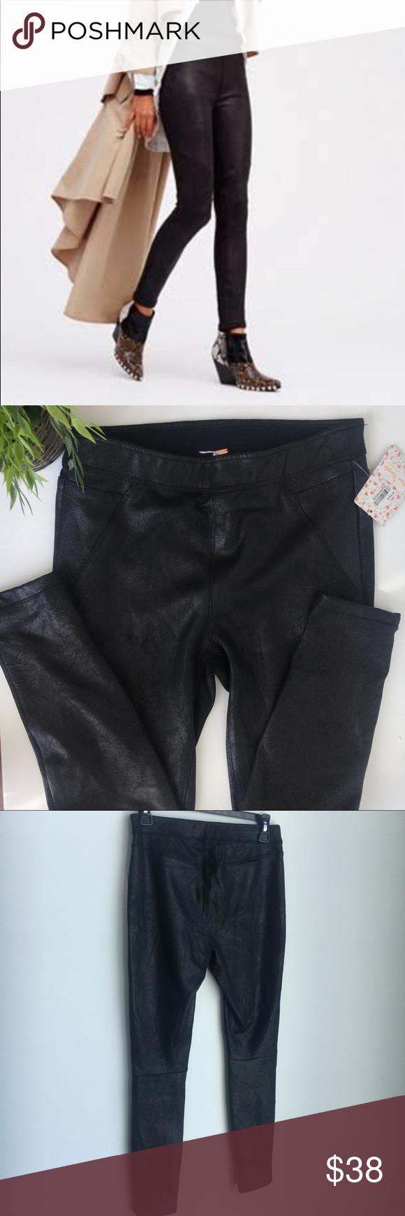 8775b1cd1ce459 FREE PEOPLE never let you go faux leather leggings Super soft faux suede  design black leggings