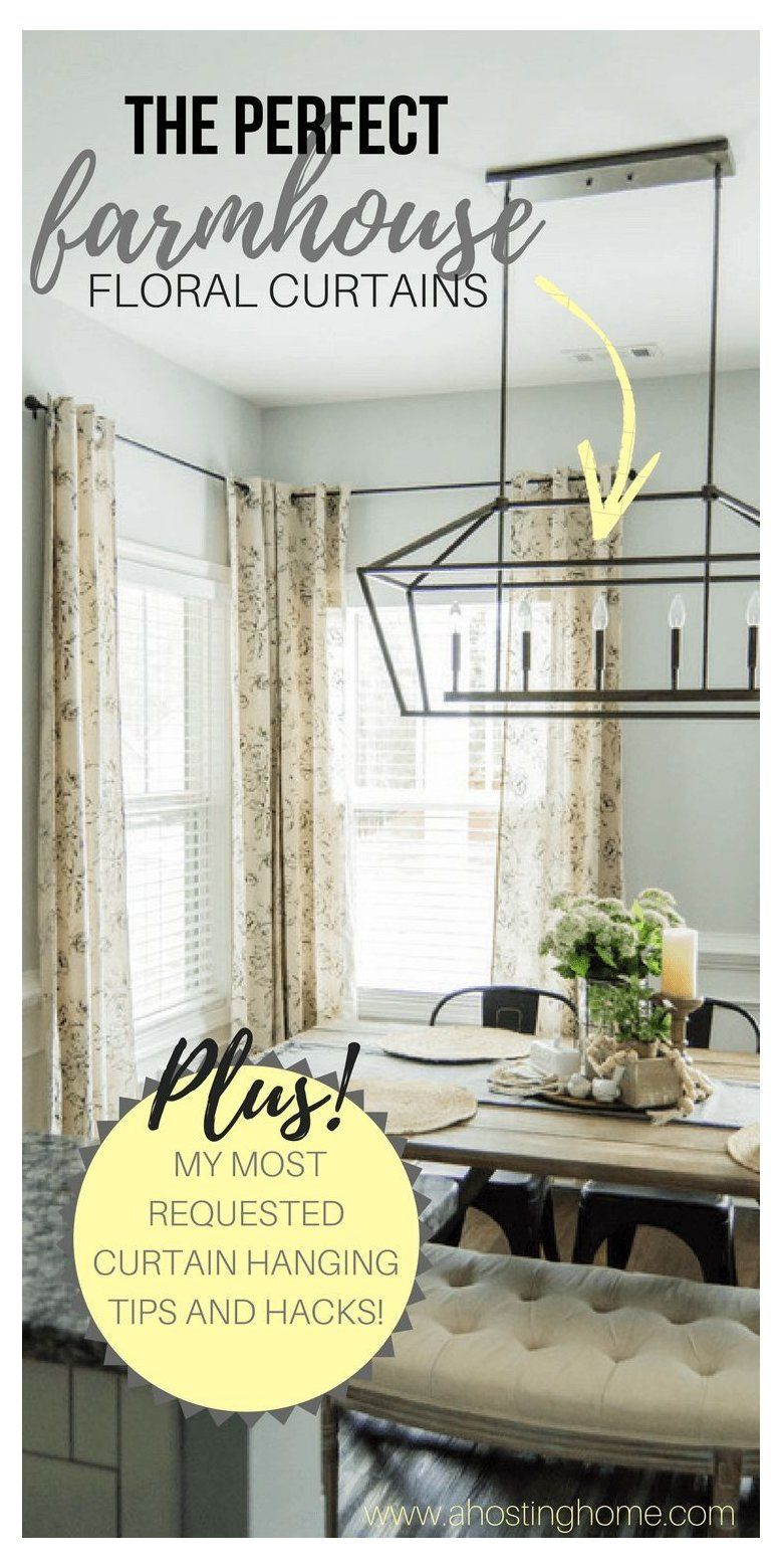 Farmhouse Curtains Joanna Gaines : farmhouse, curtains, joanna, gaines, Perfect, Farmhouse, Floral, Curtains, Curtain, Hanging, Hacks, #joanna, Gaines, #f…, House, Living, Room,, Style, Curtains,