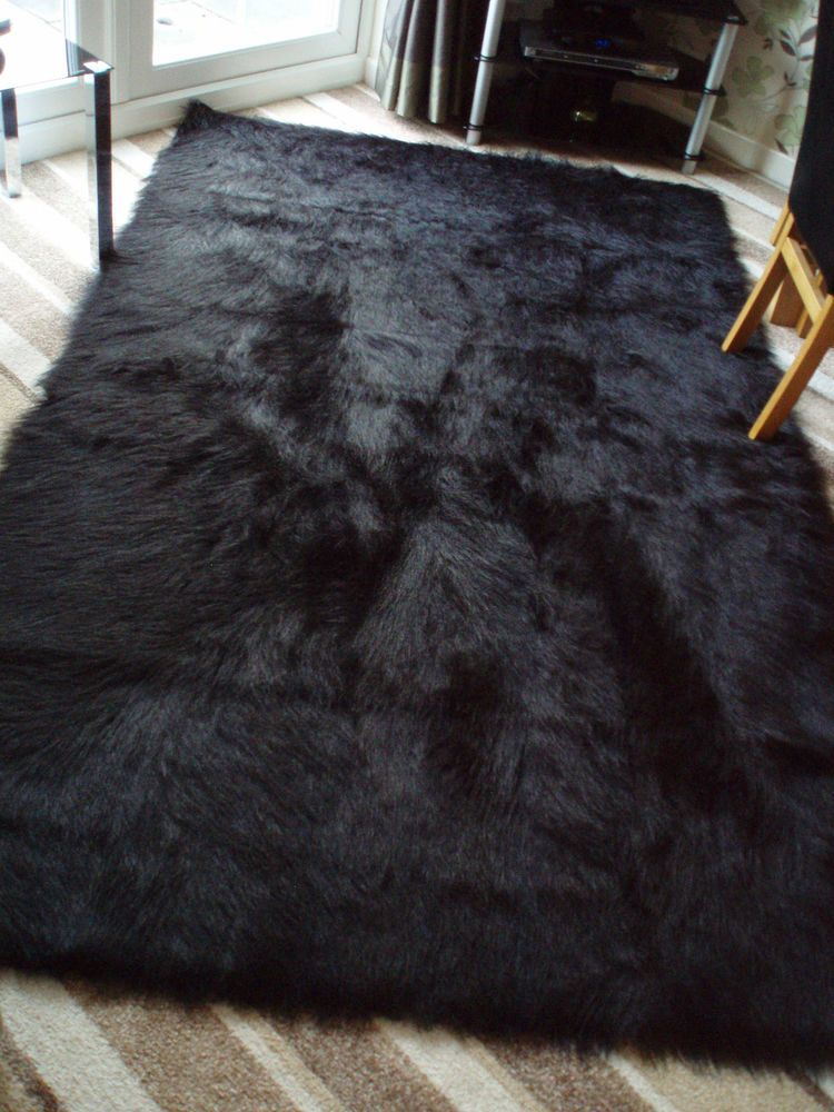 Special Offer Large Black Faux Sheepskin Shaggy Fluffy
