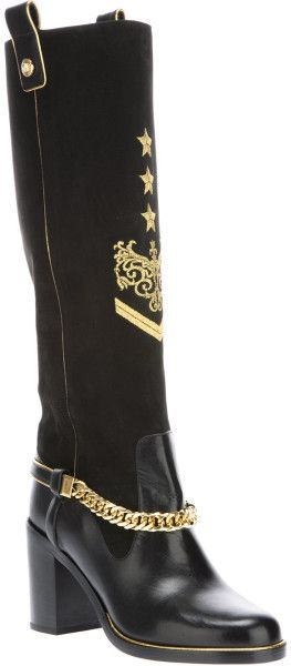 Versace Black Leather Chain Detail Boots