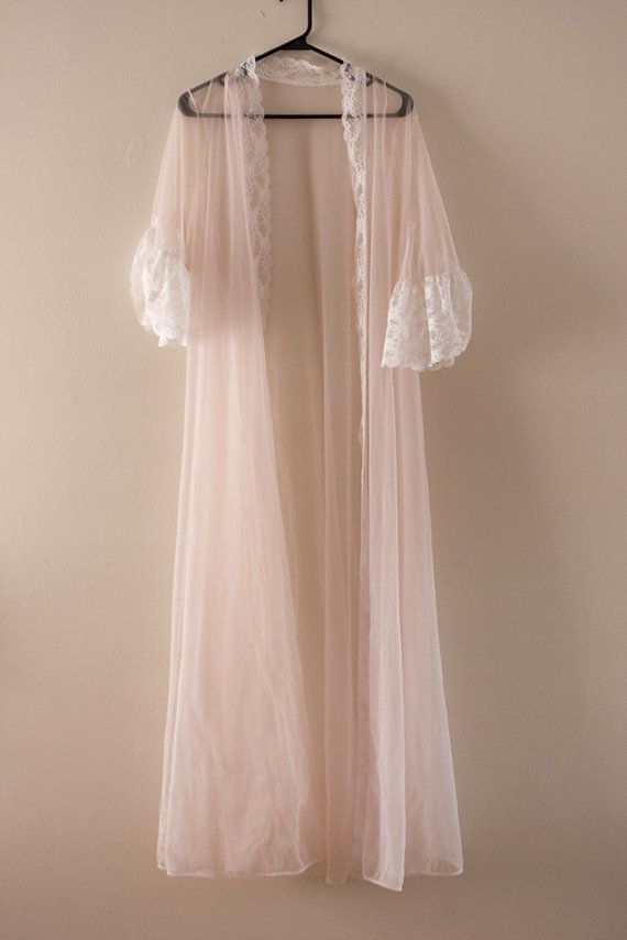 Vintage Mesh Baby Pink Lace Nightgown Robe By Meadowave On Etsy