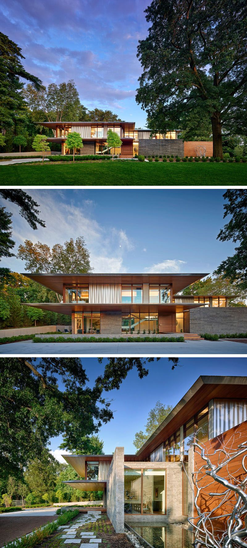 Architecture and interior design firm hufft have completed a new house named the artery residence thats located in kansas city missouri