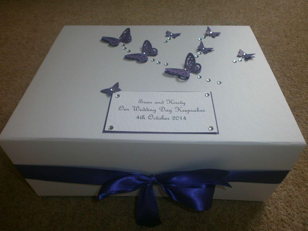 Wedding Keepsake Box large purple butterfly Memory 21st 30th 40th ...