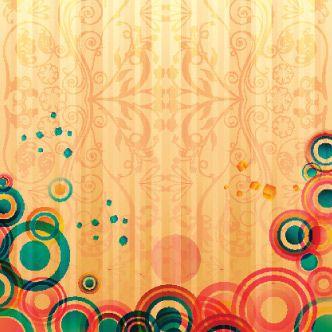 Fondo Naranja Con Adornos Sutiles Y Circulos De Colores En El Inferior Circulos De Colores Circulos Colores