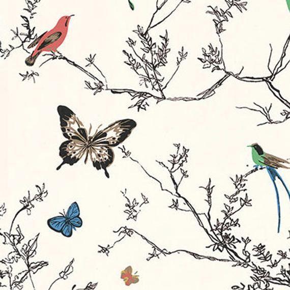 Schumacher Birds and Butterflies Wallpaper, Decorative
