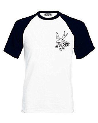 5ea71b2abef Hobo Jack ~ Black Swallow ~ White   Black 2Tone tee T-shirt (422)  Amazon.co.uk   Clothing