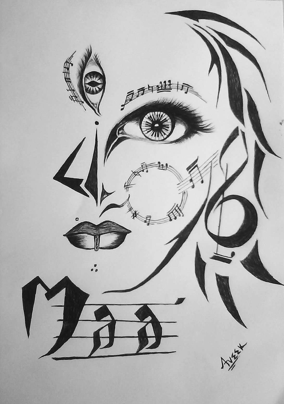 Maa Durga Sketch Black And White