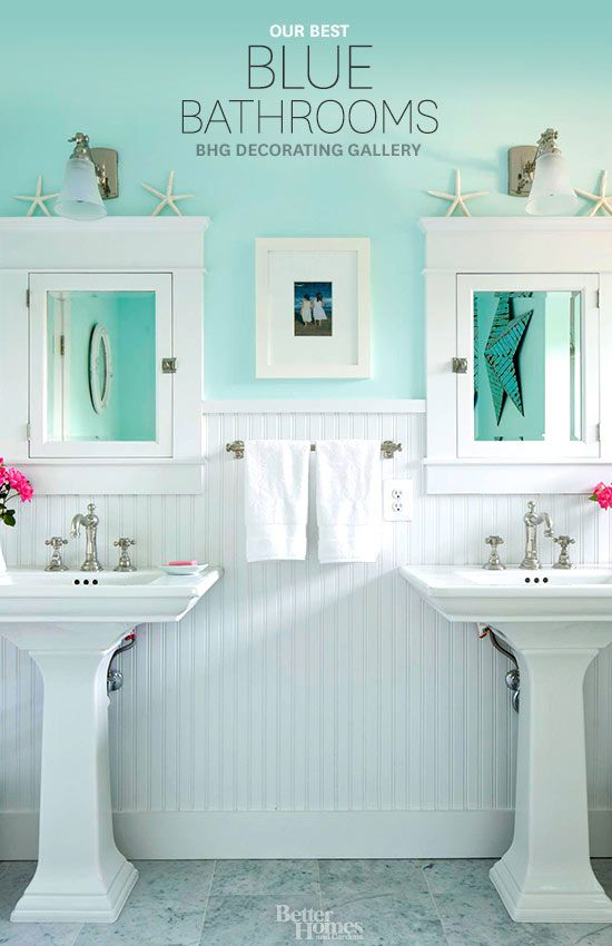 Painting Bathroom Tiles Better Homes And Gardens twin pedestal sinks give this beachy bathroom a classic, clean