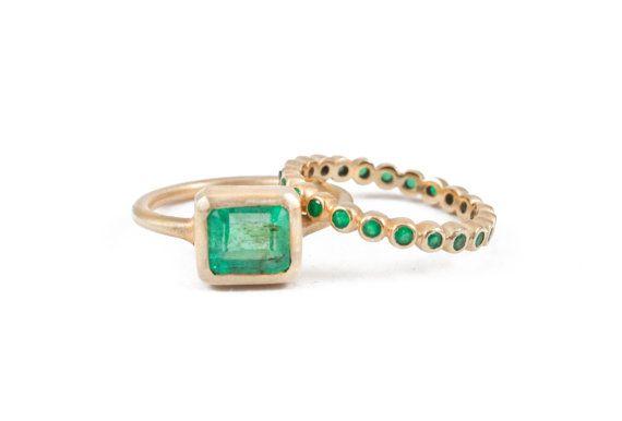 Emerald Emerald Ring Emerald Cut Octagon Stone by Tulajewelry