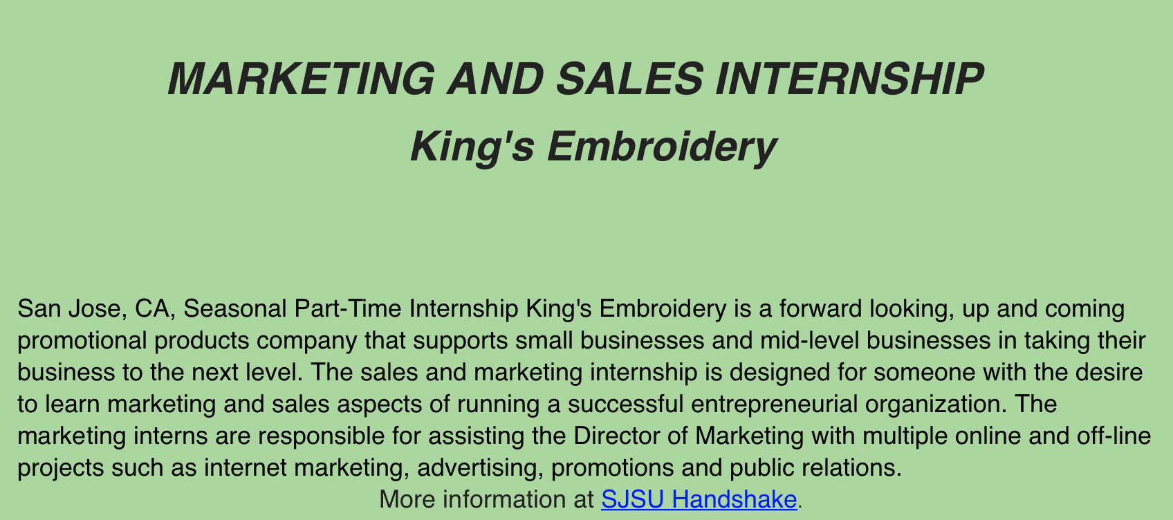 Hi Comm Majors, Here is an opportunity to work in the