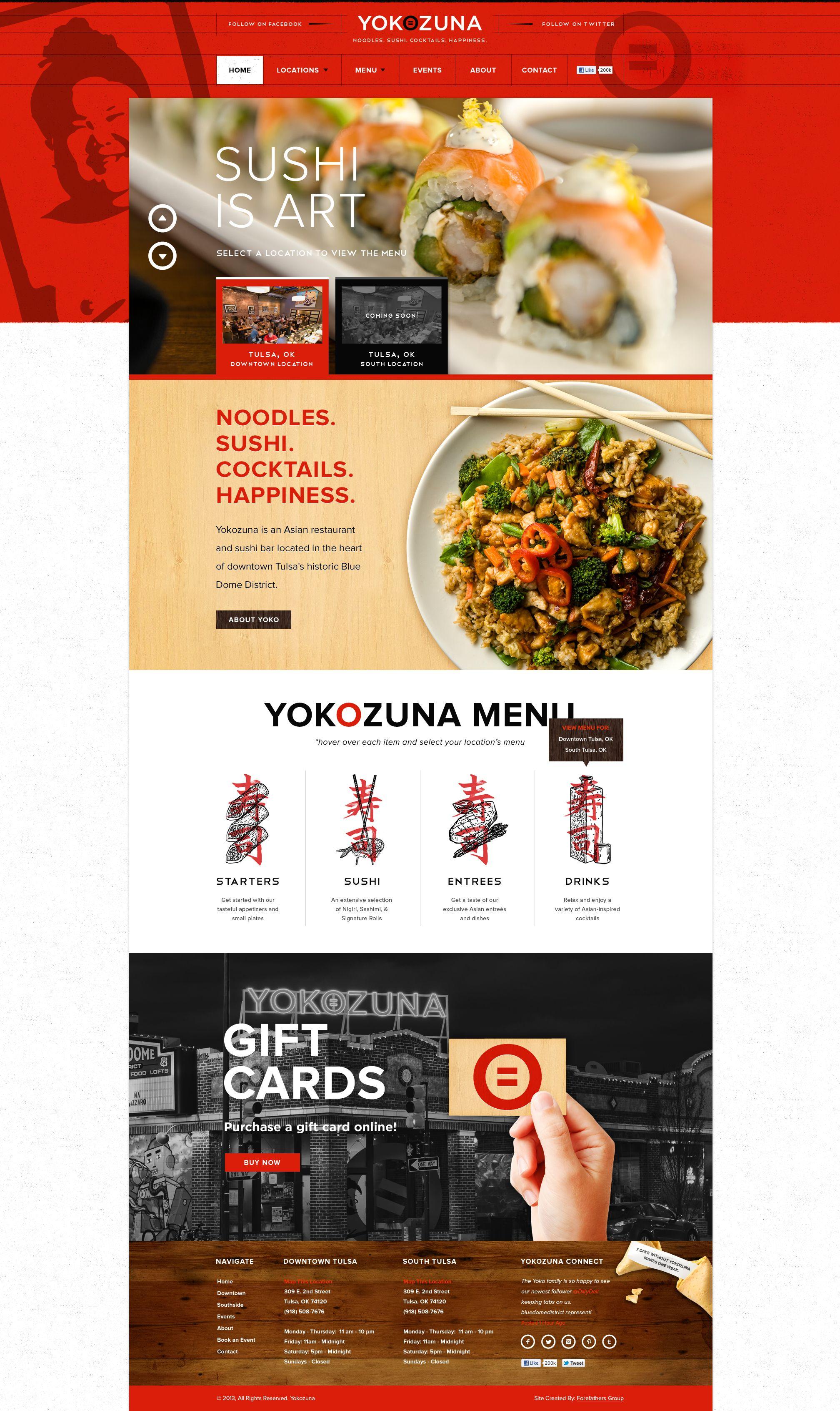 Yokozuna Tulsa Ok Bar Asian Fusion Restaurant Food Web Design Web Development Design Unique Web Design