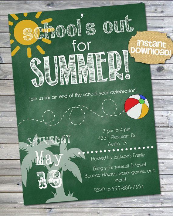 instant download end of school party invitation printable pool
